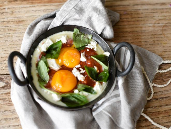 Baked Chilli Eggs With Feta And Basil · Australian Kitchen