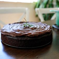 Chocolate Olive Oil Cake W/ Salted Chocolate Ganache by Wandering Spice