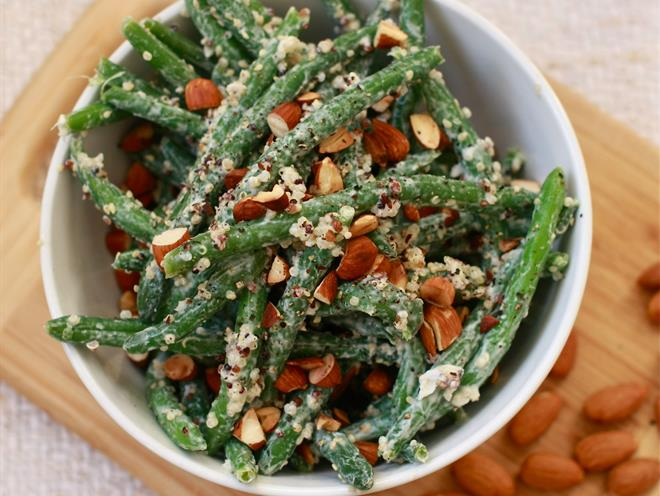 Green Bean And Quinoa Salad With Toasted Almonds And Lemon-Yogurt ...