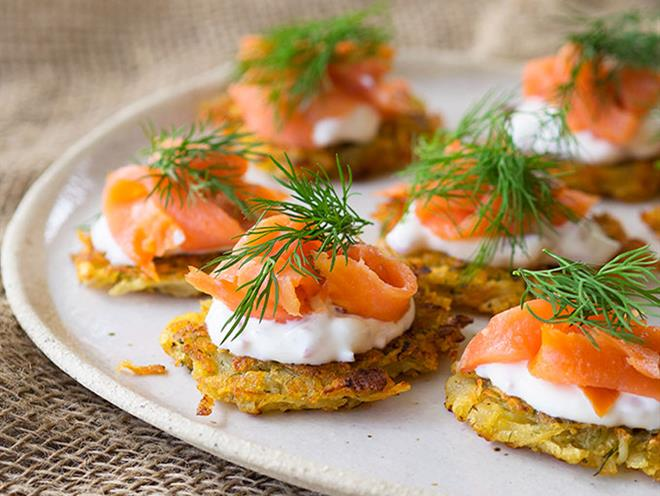 Smoked trout potato rosti canapes australian kitchen for Smoked trout canape