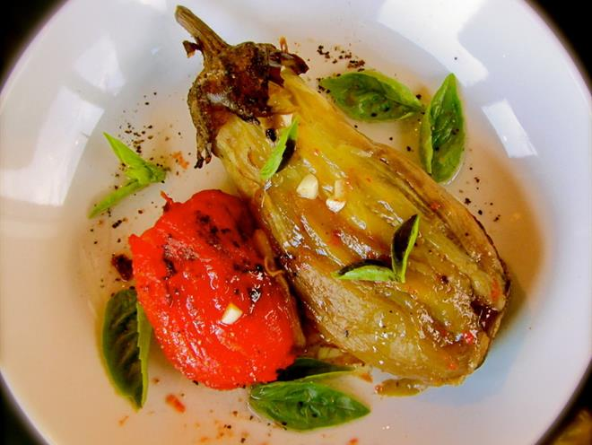 Spicy Eggplant, Tomato And Garlic Salad Recipe — Dishmaps