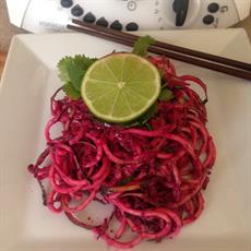 Coconut, Coriander And Beetroot Raw Zoodle Pasta