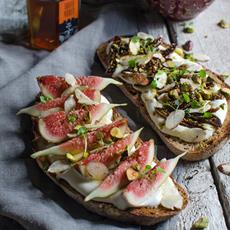 Fig, Rosewater Ricotta & Truffle Honey Bruschetta