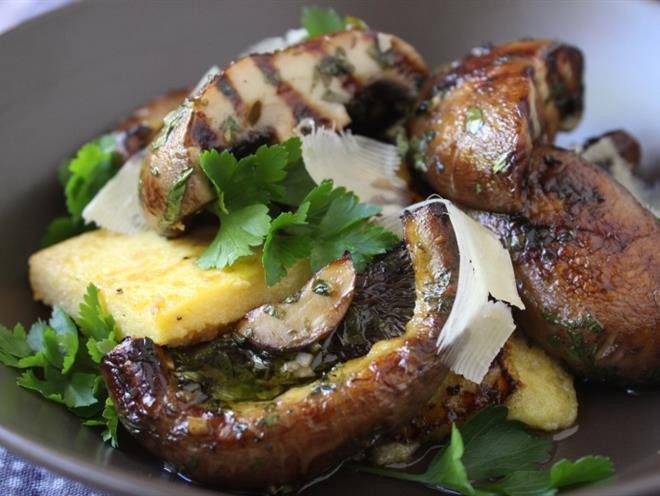 Grilled Portabello Mushrooms with Polenta · Australian Kitchen