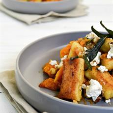 Pan-Fried Gnocchi with Pumpkin, Goat's Cheese & Candied Walnuts