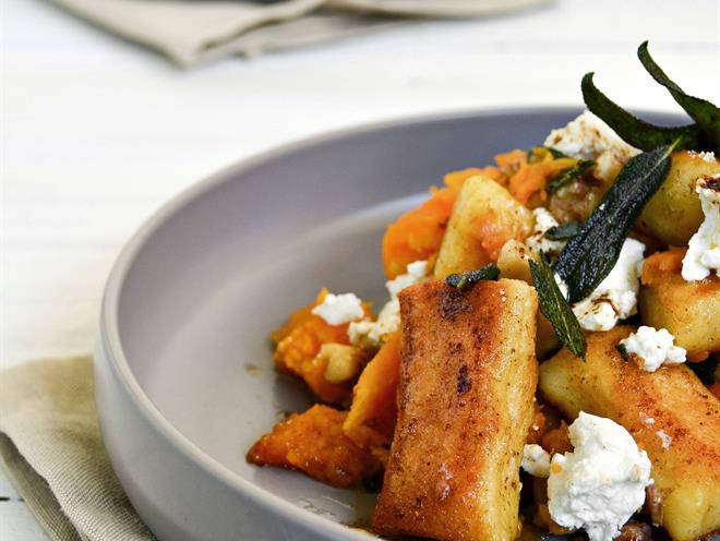 Pan-Fried Gnocchi with Pumpkin, Goat's Cheese & Candied Walnuts ...
