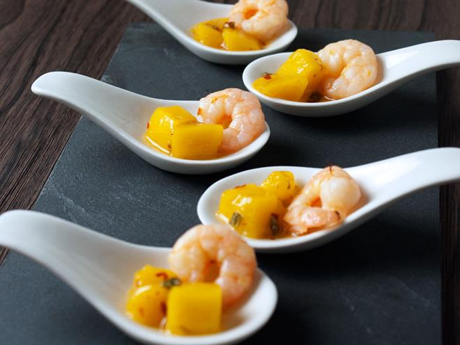 prawn and mango spoons australian kitchen