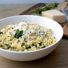 Risoni With Spinach, Parmesan And Basil