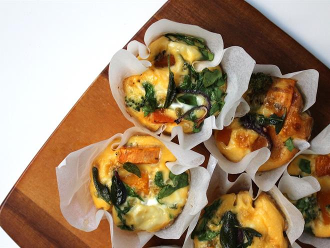 pumpkin spinach and goats cheese frittata