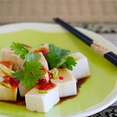 Silken Tofu With Chilli, Coriander And Sesame Dressing