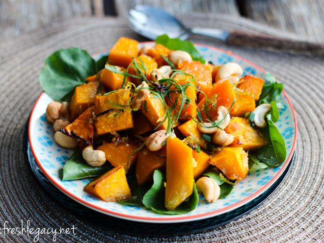 Warm Pumpkin Salad With Polenta And Candied Pumpkin Seeds Recipes ...