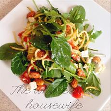 Zoodle Pasta With Almonds, Chilli Roma Tomatoes And Feta